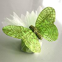 Pochons en Organdi Papillons Paillettes Dragées