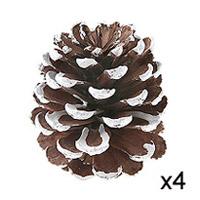 Grosses Pommes de Pin Enneigés de Décoration Noël x4