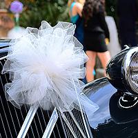 Boule Pompon Tulle 30 cm Voiture Mariage
