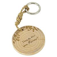 Porte Clef Cadeau Original Veux-tu être mon Parrain en Bois