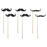 Lot de 6 Moustaches Noires Photobooth sur Pic