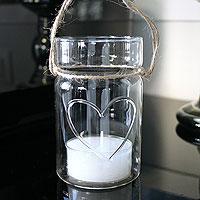 Pot Lanterne en Verre Luxueux Coeur avec Cordelette