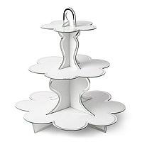 Présentoir à Cupcakes 3 Etages Blanc Liseret Argent