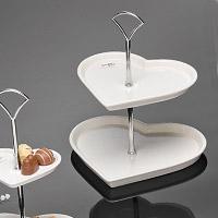 Le Présentoir 2 Etages Petits Fours Porcelaine Coeurs