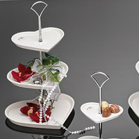 Présentoir 3 Etages Petits Fours Porcelaine Coeurs