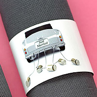 Lot de 6 Ronds de Serviette Just Married Voiture