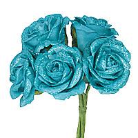 Lot de 5 Roses Pailletées sur Tige