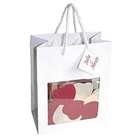 Le sac vitrine à remplir de confettis coeur 18 x 23 cm