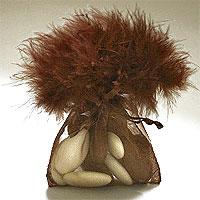 Sac Pochon Organdi Plume Boa Chocolat Contenant x10