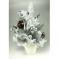 Le Sapin de Noel de Table Blanc et Argent 30cm