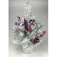 Le Sapin de Noel de Table Blanc Parme et Fuchsia 30cm
