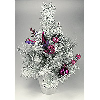 Sapin de Noel de Table Blanc Parme Fuchsia 30cm