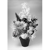 Le Sapin de Noel de Table Blanc Noir et Argent 30cm