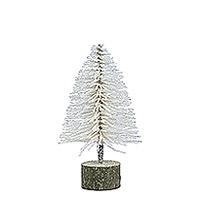 Sapin de Noel 15 cm Pailleté Blanc sur son Socle Bois