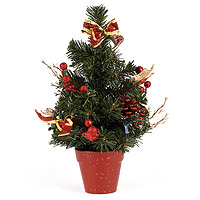 Le Petit Sapin de Table Artificiel Vert et Rouge 30 cm