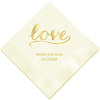 100 Serviettes de Table Prénoms Signature Love