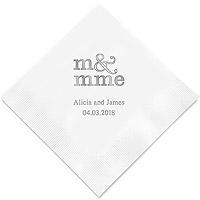 Grande Serviettes de Table Personnalisée Mr Mme