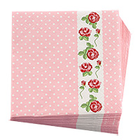 Lot de 20 Serviettes Cocktail Vintage Liberty Rose