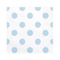 Serviettes Papier Gros Pois Bleu Ciel x20