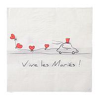 Serviettes Papier Vive les Mariés Coeurs Rouge