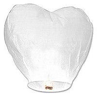 Sky Lantern Coeur Mariage Blanc