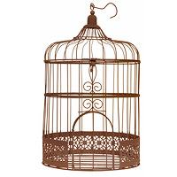 Tirelire Cage Fer Rouillé Vintage