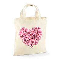 Petit Sac Tote Bag Coeur de Roses 23 x 26 cm