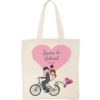 Tote Bag Personnalisé Vélo Mariés
