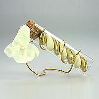 Lot de 12 Eprouvettes avec Fil Orchidées et Dragées