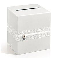 L'Urne des Mariés Vintage Blanc Nacré Coeur Métal