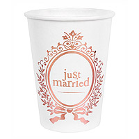 Gobelet Carton Just Married Métallisé Rose Dore