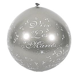 Ballon Géant Vive les Mariés 1 m Gris