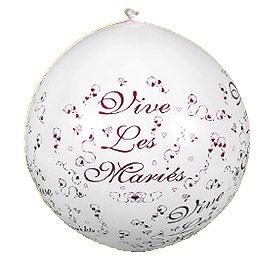 Ballon Géant Vive les Mariés 1 m Blanc