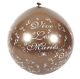 Ballon Géant Vive les Mariés 1 m Chocolat