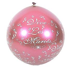 Ballon Géant Vive les Mariés 1 m Fuchsia
