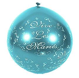 Ballon Géant Vive les Mariés 1 m Turquoise