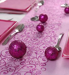 10 Boules Paillettes Décoration Table Fuchsia