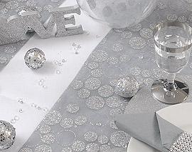 10 Boules Paillettes Décoration Table Argent