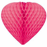 Coeurs Décoration Papier Alvéolé 30cm Fuchsia