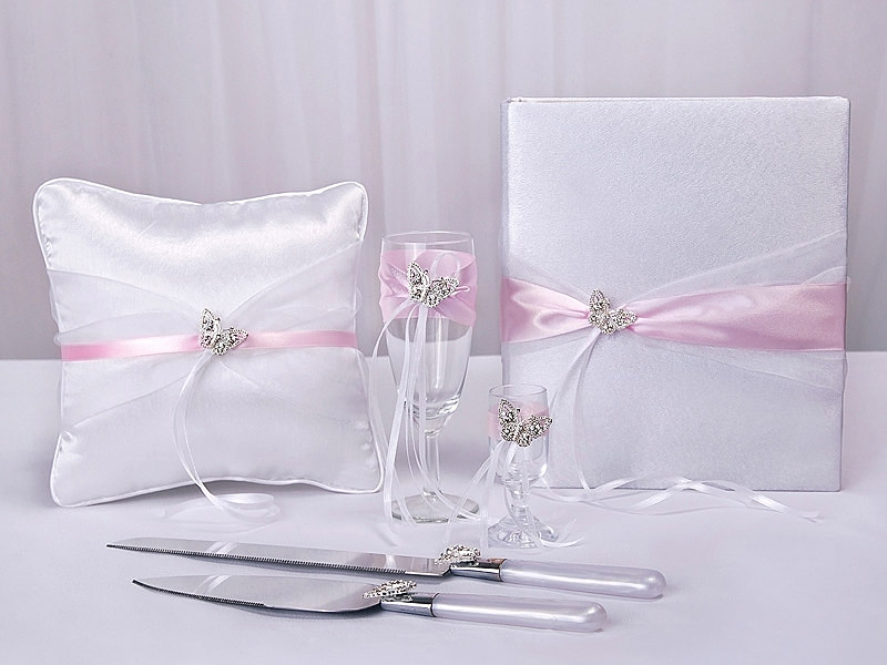 Accessoires Mariage Papillon Strass Blanc Rose