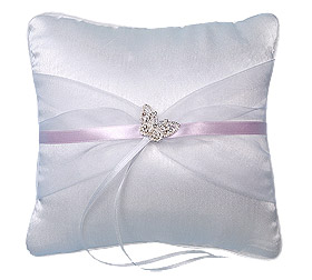 Coussin Alliances Satin Papillon Strass