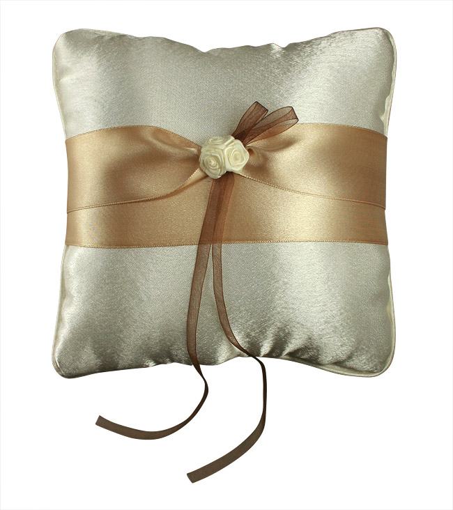 Coussin Alliances Satiné Chocolat Roses