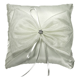 Coussin Alliance Mariage Noeud Strass Fleur Ivoire