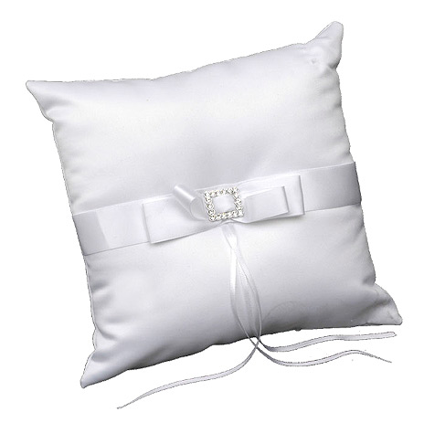 Coussin Alliances Carré Strass Blanc