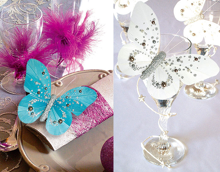 Papillon Decoration Table : Lot de papillons sur pince perles et paillettes noel