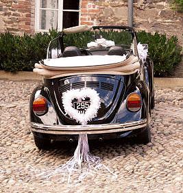 Coeur Géant Plume Décoration Voiture Mariage Blanc