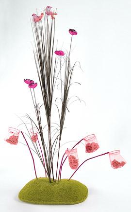 Rocher en Mousse Pique Fleurs Décoration Table Vert Anis