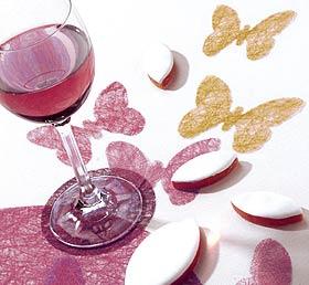 Dessous de Verre Papillons x12 Bordeaux