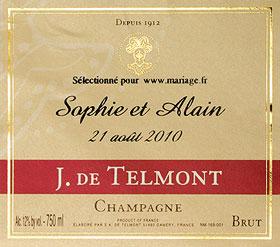 Etiquette Champagne Personnalisé Mariage de Telmont