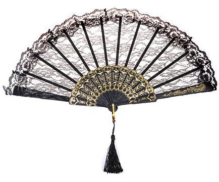 l 39 eventail luxe dentelle noir et dor et pompon nos cadeaux de remerciement pour vos invit s. Black Bedroom Furniture Sets. Home Design Ideas